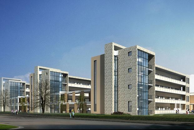 4)在建筑立面设计上,以现代的设计手法,现代的建筑语言,符号,体现海岛